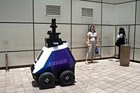 Singapore, Republic of Singapore, Asia - An autonomous ground robot named Xavier developed by HTX (Home Team Science and Technology Agency) under the ...
