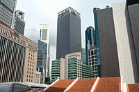 Singapore, Republic of Singapore, Asia - Cityscape with skyscrapers and office buildings in the central business district around Raffles Place during ...