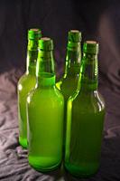 Four bottles of cider. Asturias, Spain.