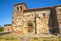 Facade of the church. Hoyuelos de la Sierra, Burgos province, Castilla Leon, Spain.