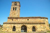 Facade of San Martin de Tours church. Vizcainos de la Sierra, Burgos province, Castilla Leon, Spain.