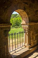 Atrium of San Martin de Tours church. Vizcainos de la Sierra, Burgos province, Castilla Leon, Spain.