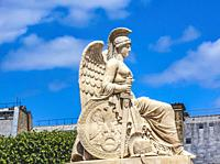 Classical Winged Woman Statue Tulleries Garden Paris France.