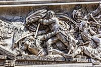 Napoleon Taking Flag Battle Arcole Bridge Arc de Triomphe Paris France. Up to Champs Elysees, site of French Unkown soldier. Napoleon defeated Ottoman...