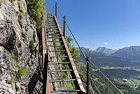 Via ferrata on the hiking trail between Bellwald and Aspi-Titter suspension bridge, Bellwald, Valais, Switzerland, Europe.