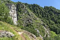 Landscape along the hiking trail between Bellwald and Aspi-Titter suspension bridge, Fieschertal, Valais, Switzerland, Europe.