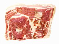 sliced raw bacon, on isolated on white background, top view.
