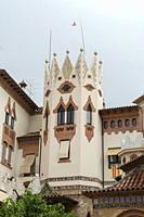 Lloret de Mar by Mediterranean sea in Girona Costa Brava Catalonia Spain the modernist church of St Roma.