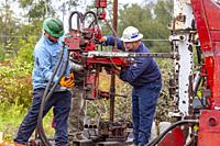 Bradford, Pennsylvania - Workers for the nonprofit Well Done Foundation plug an abandoned oil well that was leaking methane. The well was drilled in t...