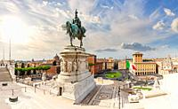 View on the Monument to Victor Emmanue and Venice Square Piazza Venezia , Rome, Italy .