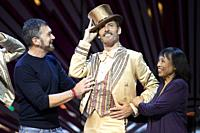 Actor Antonio Banderas and choreographer Baayork Lee present 'A Chorus Line' at the Calderon Theater on October 07, 2021 in Madrid, Spain.