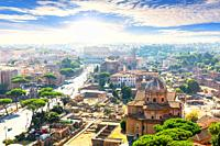 Beautiful view of Forum, Capitoline Hill, Coliseum, Rome Italy.