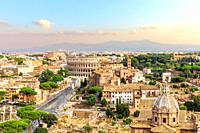 Beautiful view of Forum, Capitoline Hill and Coliseum, Rome, Italy.