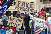 """Lansing, Michigan USA - 12 October 2021 - A rally at the Michigan State Capitol demands a """"""""forensic audit"""""""" of the 2020 presidential election results..."""