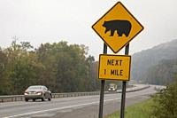 Limestone, New York - A road sign in the Allegheny Mountains warns that bears may be crossing the road.
