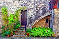 housing, pots and scale, Oix, Garrotxa, Catalonia, Spain