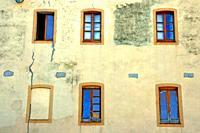 six windows, Banyoles, Catalonia, Spain