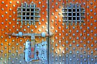 detail of the door of the church of Sant Llorenç d'Oix, Garrotxa, Catalonia, Spain