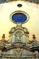 detail of the facade of the church of Santa Maria, baroque, Arenys de Mar, Catalonia, Spain