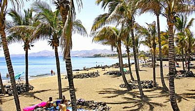 Panoramic of the beach of Puerto del Carmen, Lanzarote, Canary Islands, Spain.