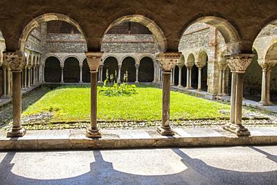 France, Occitanie,Ariege, 12th Century Cloister at the Saint Lizier cathedrale, at Saint Lizier.
