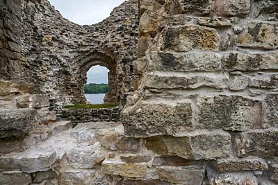 Koknese castle ruins. Latvian medieval castles. Archaeological monument of national importance. The medieval castle of Koknese was a stone castle buil...