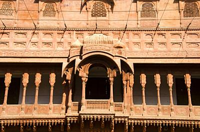 Carving details of the balcony located at the Junagarh Fort, Bikaner, Rajasthan, India.