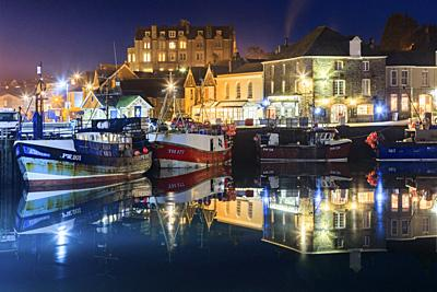 Fishing boats in Padstow Harbour on the north coast of Cornwall, captured using a long exposure on an evening in late January.