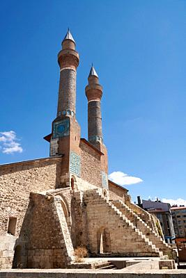 The Gökmedrese or Gök Medrese built in 1271 by Vizier Ata Faahreddin Ali. Above the crown door are two minarets with a bow and single cone decorated w...