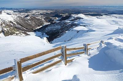 France, Puy de Dome (63), Besse-et-Saint-Anastaise, ski station of Super Besse, valley of Chaudefour and Puy de Champgourdeix viewed from Puy de la Pe...