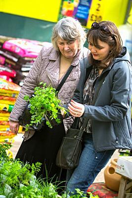 Women choosing strawberry plants from garden Centre UK.