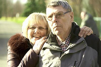 senior couple together in park, in Cottbus, Brandenburg, Germany.