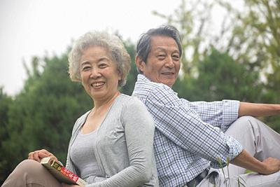 Elderly couple outdoors