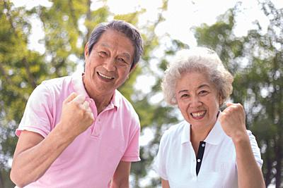 Elderly couple outdoors, healthy life