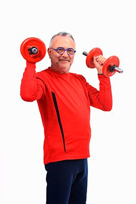 man with dumbbells on white background.