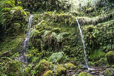 waterfall at the hiking trail Levada do Caldeirao Verde, Madeira, Portugal, Europe.