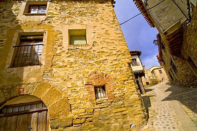 Street Scene, Tipycal Architecture, Old Town, Yanguas, Soria, Castilla y León, Spain, Europe.