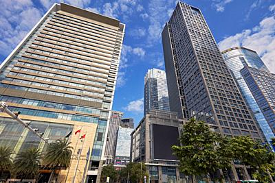 High-rise buildings in Futian Central Business District (CBD). Shenzhen, Guangdong Province, China.