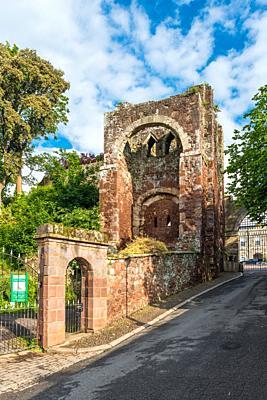 Entrance to Rougemount Castle, Exeter, Devon, England, UK.
