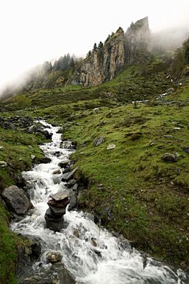 Fog in Lescun Valley, Pyrenees in France.