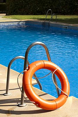 Buoy and swimming pool.