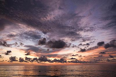 Ethereal sunset over the warm waters of the Pacific. San Pancho, Nayarit. Mexico.