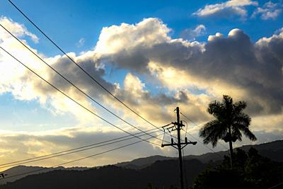 Electricity poles in the tropical nature of Cuba, Caribbean, Central America.