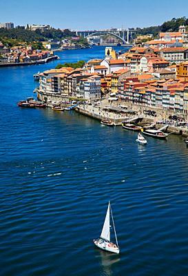Cais da Ribeira, Rio Douro river, View from Ponte Dom Luis I bridge, Porto, Portugal
