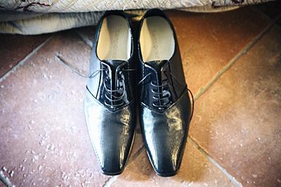 elegant black groom shoes.