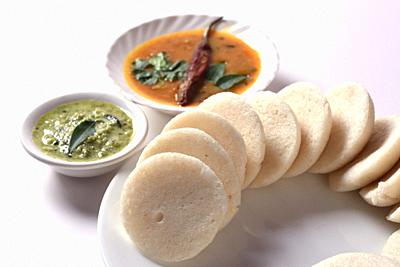 Idli with Sambar and coconut chutney, Indian Dish : south Indian favourite food rava idli or semolina idly or rava idly, served with sambar and green ...