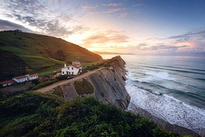 Coast Landscape Of Famous Flysch In Zumaia at sunset, Basque Country, Spain. Famous Geological Formations .