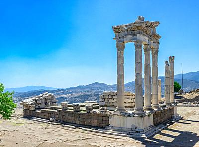 Ruins of the Temple of Dionysos in the Ancient Greek city Pergamon, Turkey. Big size panoramic view on a sunny summer day.