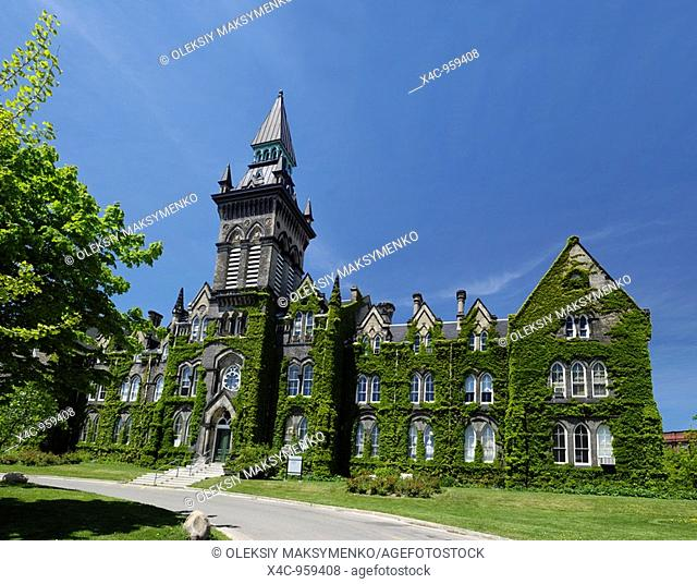 One of the buildings of the University of Toronto located at Spadina Crescent covered with ivy 1875 year Victorian architecture Toronto Ontario Canada