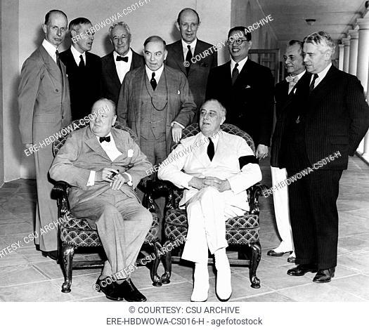 The Pacific War Council, front, l-r: Winston Churchill, President Franklin D. Roosevelt, back, l-r: Dr. Eelco Van Kleefens, Owen